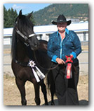 Christie Hartin with Simbad, a Paso Fino gelding.